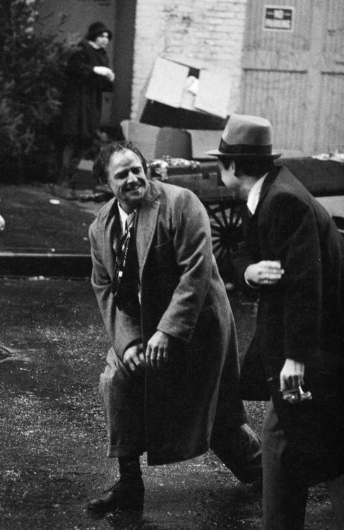 Marlon Brando on the set of The Godfather