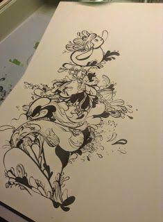 KARPORTEN  Karina Posborg - ink - dragons - creatures - character design - monster - bloob - woobly - artwork - rissing up