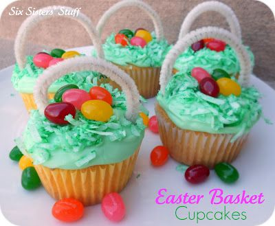 Easter Egg Basket Cupcakes makes a nice dessert or snack for the occasion.: Cupcake Tutorial, Easter Cupcake, Six Sisters, Baskets Cupcake, Food, Eggs Baskets, Easter Eggs, Easter Baskets, Pipes Cleaners