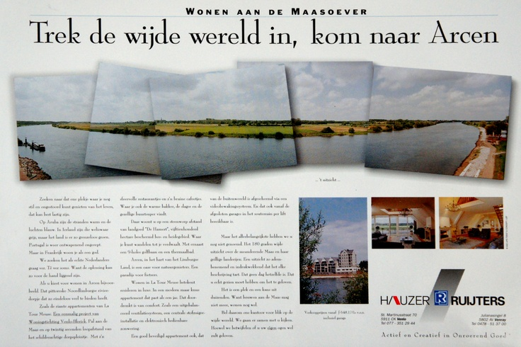"""Cliënt: Hauzer Makelaardij. ½-krantenpagina advertentie voor appartementen met 't fantastische uitzicht op de Maas als usp. Doelgroep: """"55+, financieel onafhankelijk"""". Mijn eerste keus kopzin: """"Bent u binnen, dan kunt u nu naar buiten"""" werd door de klant als 'te gewaagd' afgekeurd. Jammerrrr...! Foto's: Aad Lips. Art: LEF. (st+ct+cy)"""