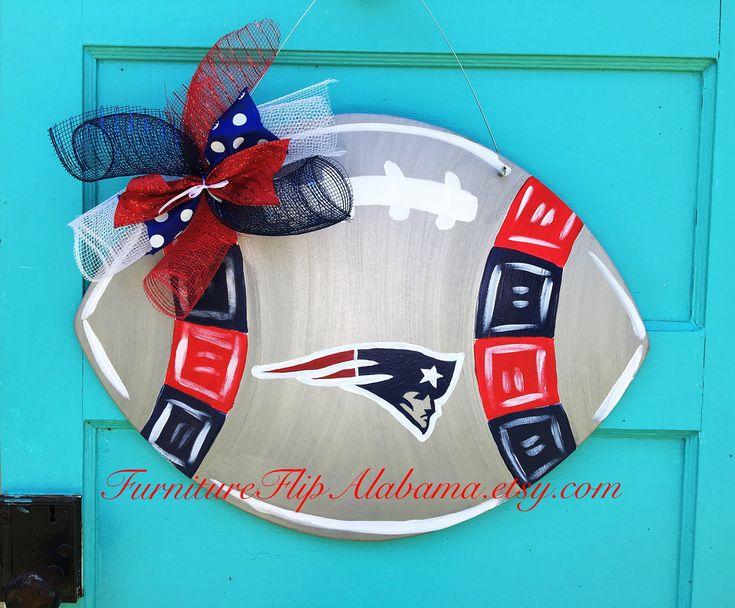 New England Patriots football door hanger,Patriots wood door hanger,Patriots football wreath,football door decor,football party sign by Furnitureflipalabama on Etsy