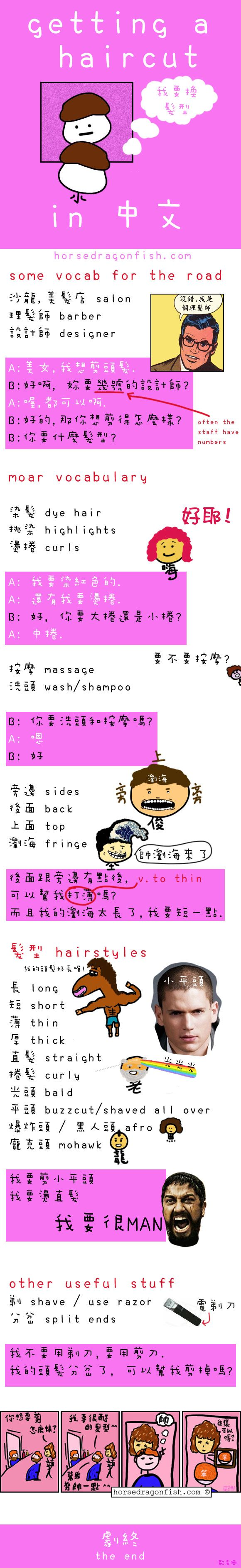 HorseDragonFish comic teaching how to get a haircut in Chinese plus how to say different hairstyles