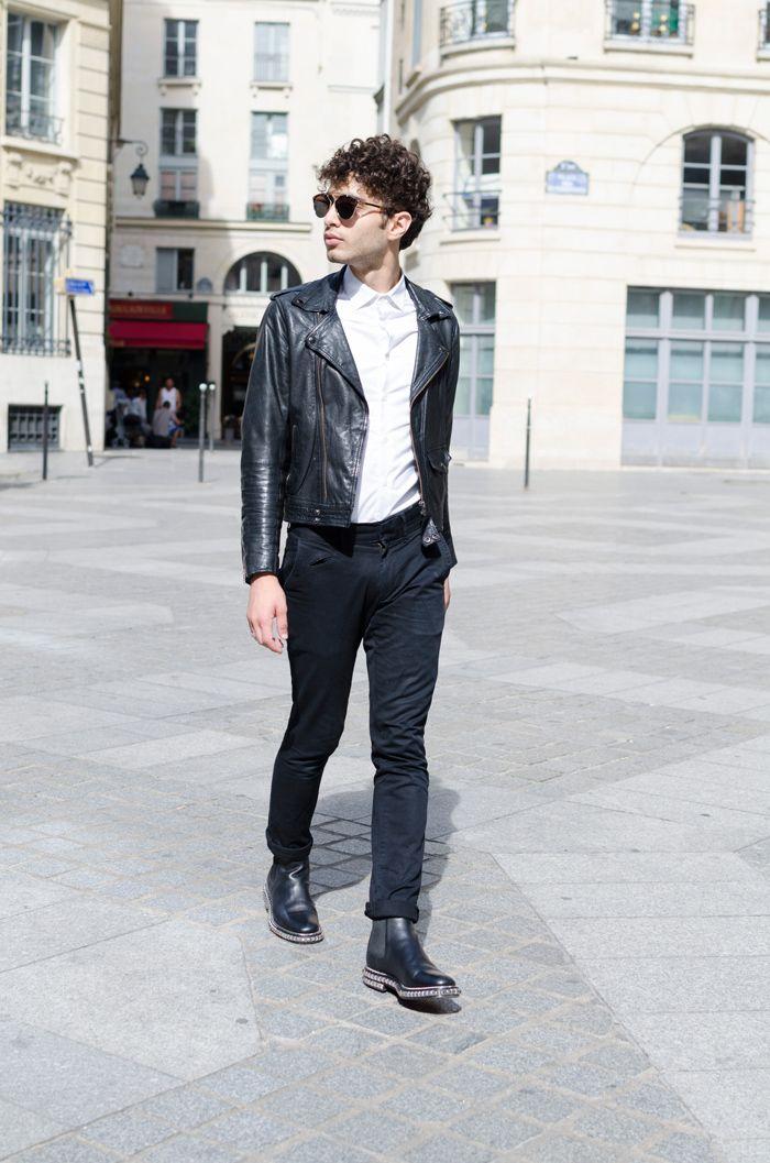Test : la vérité sur les souliers Louboutin homme         Perfecto Asos Premium, chemise BonneGueule, chino Zara, lunettes Christian Dior « So Real ».