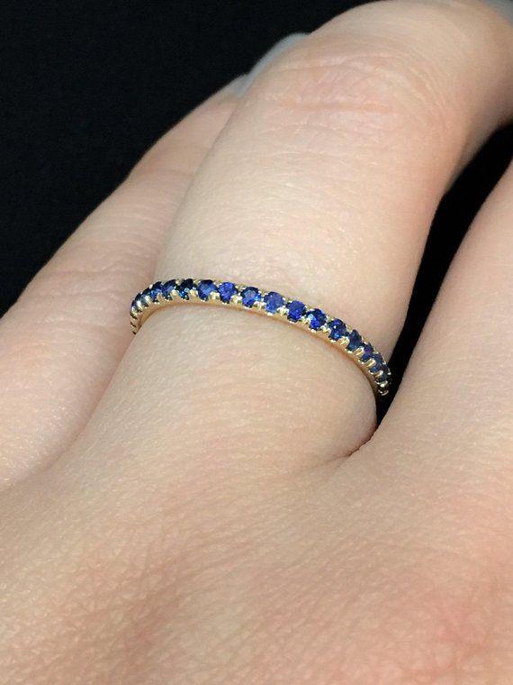 18K Blue Sapphire Full Eternity Band 1.6mm Yellow Gold Sapphire Eternity Ring Pave Blue Sapphire Wedding Band Matching Anniversary Stacking