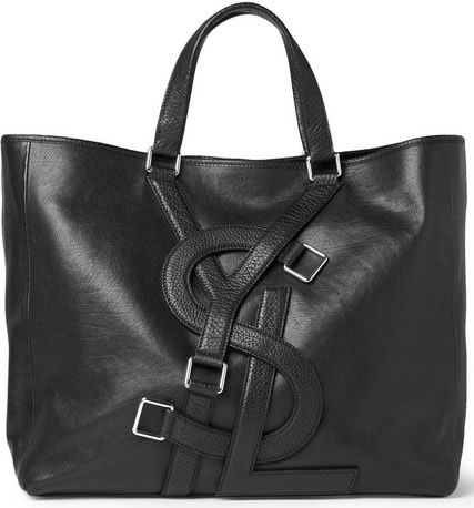 Yves Saint Laurent Logo Strap Leather Tote Bag