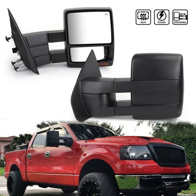 Towing Mirrors Power Heated Puddle Lights Turn Signals For Ford F150 07 14 Black Ford F150 2014 Ford F150 F150