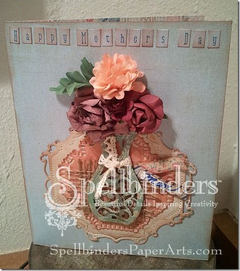 S2-028  Die D-Lite Filigree Vase, S4-380 Decorative Elements Twenty Seven. Basic Grey- Mint Julep Patterened Paper and Alpha Stickers  May Arts – Lace & Burlap.  Ink. Beacon Adhesives – FabriTac. KaiserCraft: large flowers: pink flower, burgundy flower.