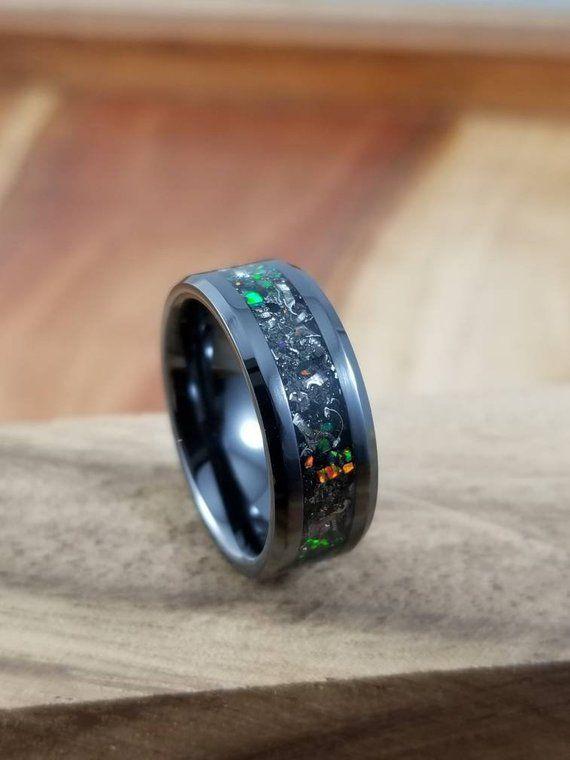 Black Fire Opal Meteorite Black Ceramic Ring Men S Black Etsy Black Ceramic Ring Black Wedding Band Black Engagement Ring