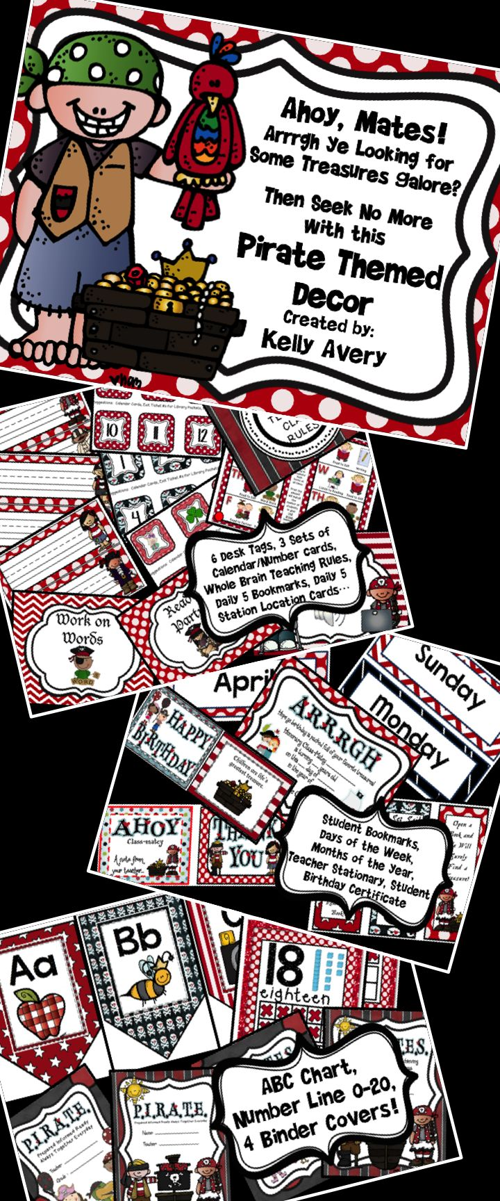 "This pirate themed classroom decor packet is full of classroom essentials for elementary teachers.  These creative printables will help teachers with organizing their classroom, and students will LOVE the pirate theme!  Click here for creative ideas and tips and give your classroom a ""one of a kind"" flair that can't be bought at a school supply store anywhere!"