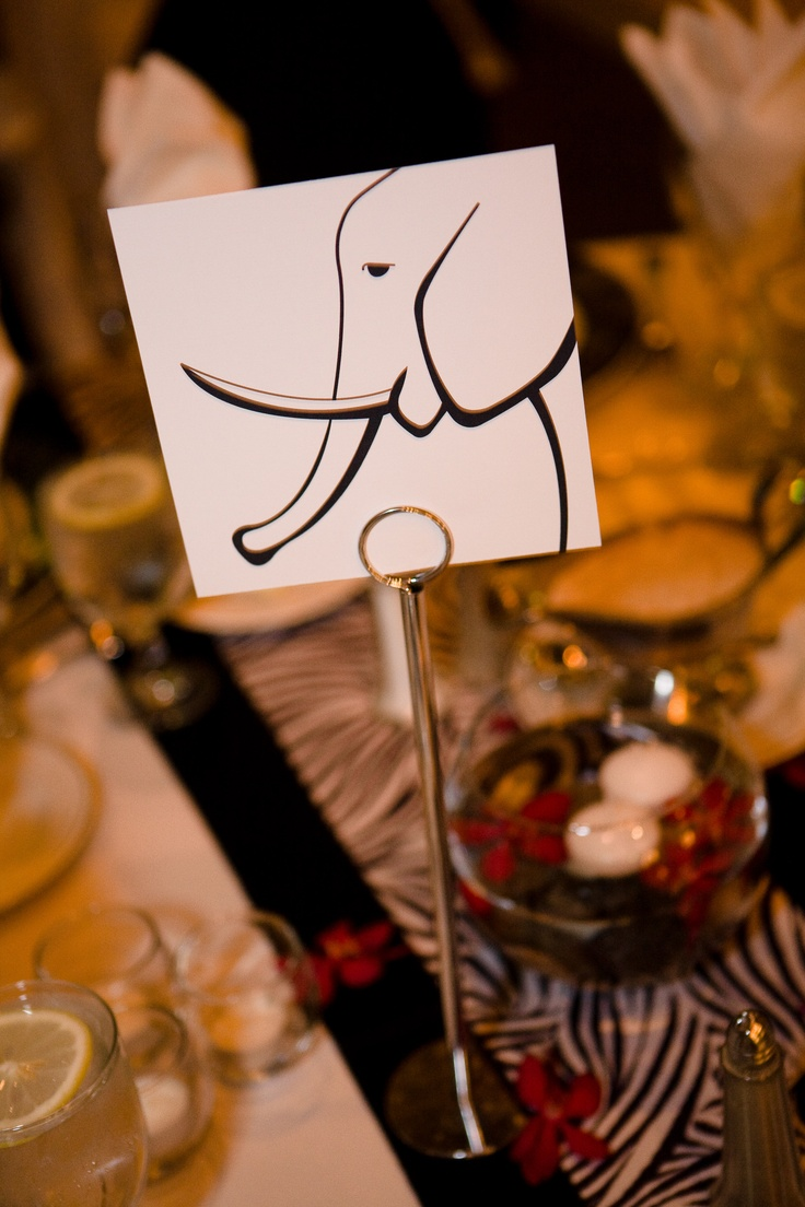 Instead of table numbers, animals for a zoo wedding