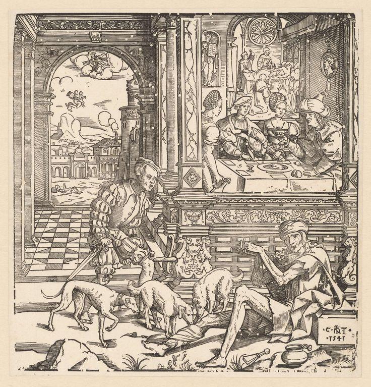 Cornelis Anthonisz. | De rijke man en de arme Lazarus, Cornelis Anthonisz., 1541 | De rijke man met drie honden en Lazarus in lompen, bij het huis waarbinnen feestmaal aan de gang is. Links op achtergrond ziel van Lazarus ten hemel gedragen, rechts op achtergrond sterfbed van rijke man en ziel die naar de hel gaat.