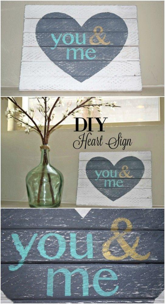 Valentines' Day Blog Hop: You & Me Heart DIY Wood Sign - Dream Design DIY