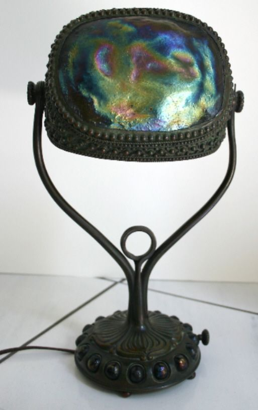 Tiffany Studios Quot Turtle Tile Quot Iridescent Glass Shaded Desk
