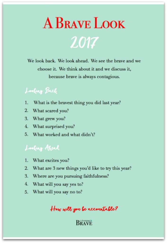 A brave look. Questions for reflecting on 2016 and looking ahead to a brave 2017. Perfect for New Years Resolutions and goal setting. Free download on the blog.