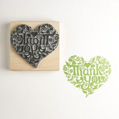 Thank You Heart Rubber Stamp | Noolibird