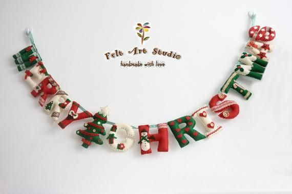 Hermosa Feliz Navidad Fieltro Bandera Guirnaldas Decoración Etsy Puerta De Navidad Decoracion Navidad Decoración De Unas