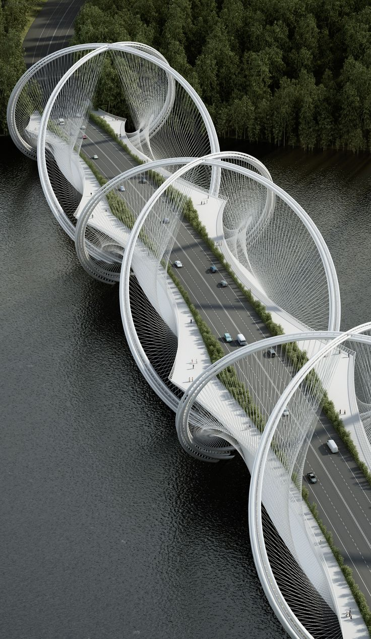 """The San Shan Bridge spans across the Gui River and will be an integral part of the infrastructure program for the Olympic Winter Games 2022 in Beijing and connects the city center with Zhangjiakou. The english translation of """"San Shan (三⼭)"""" is 3 Mountains…"""
