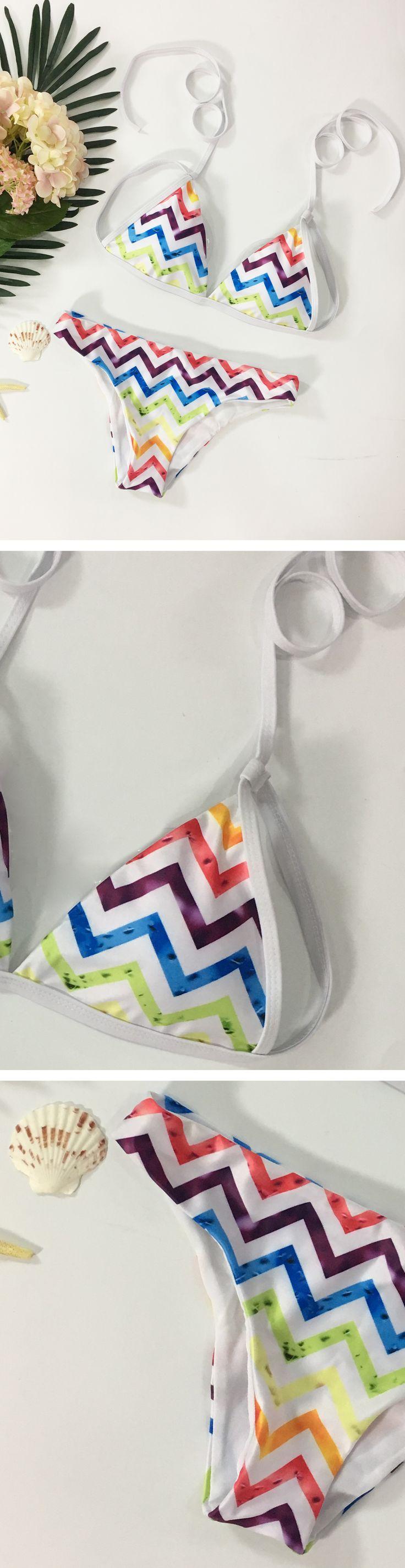 Women's Fashion Two Piece Chevron Print Bikini Swimsuit Set