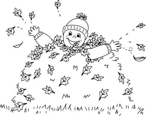 ausmalbild: kind spielt in einem blätterhaufen | ausmalbilder kostenlos zum ausdrucken | herbst