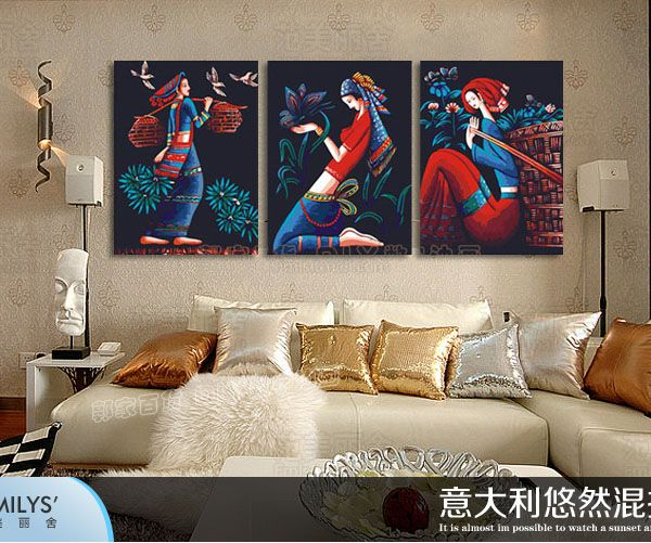==> [Free Shipping] Buy Best digital oil painting special living room national figure decorative wall triple painting / three fight makeup girl Online with LOWEST Price | 32776388894