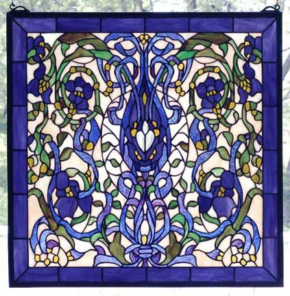 Stained Glass Windows, Ribbons & Flowers Window by Meyda Tiffany