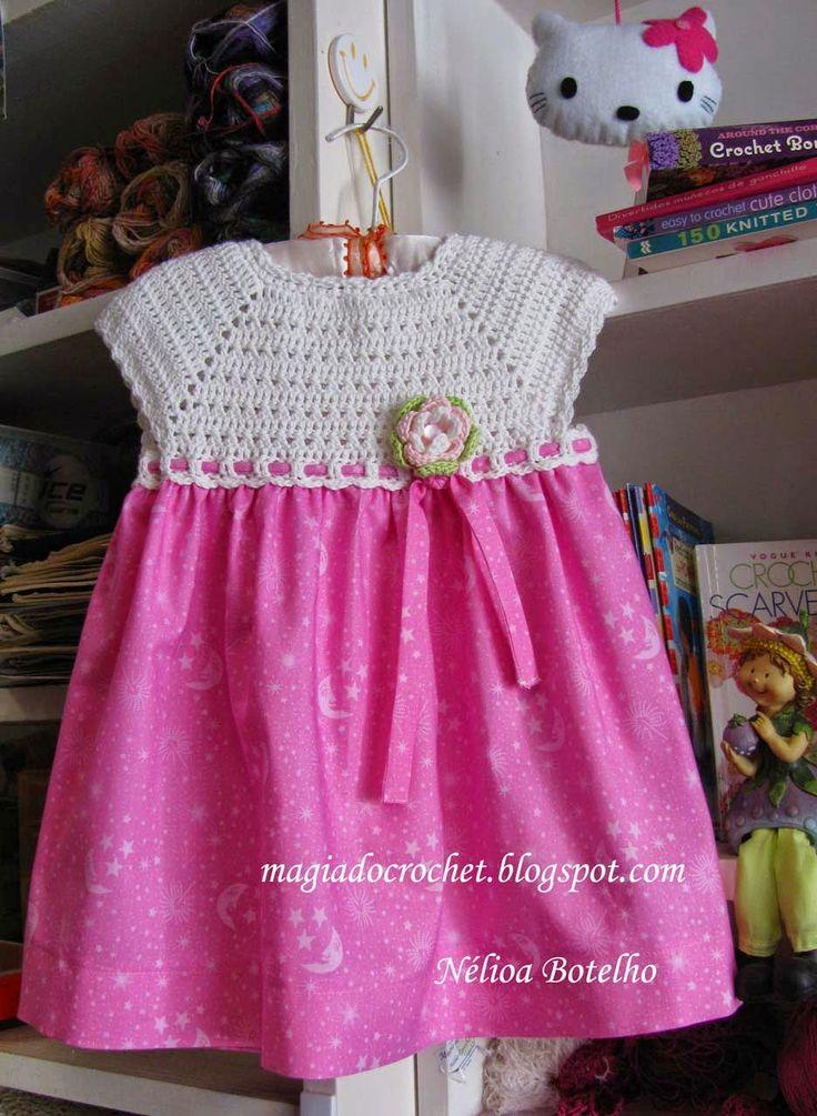 Magia do Crochet: Vestido e sapatinhos para bebé
