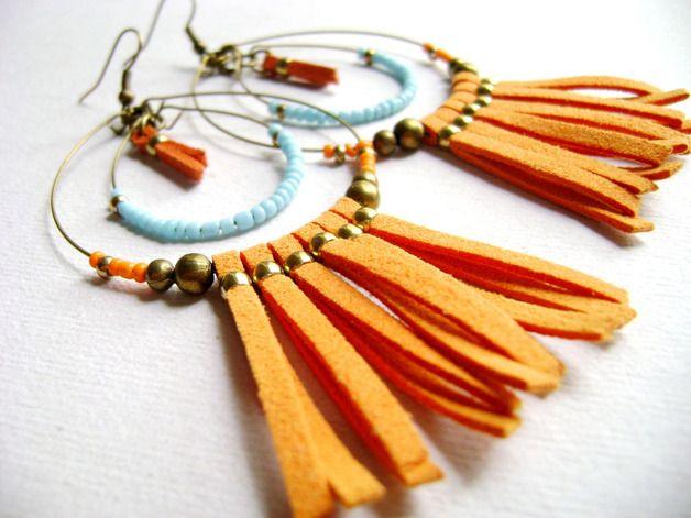 autumn in DaWanda Dangle Earrings – Turquoise orange bohemian style long earrings – a unique product by DivinaLocura on DaWanda
