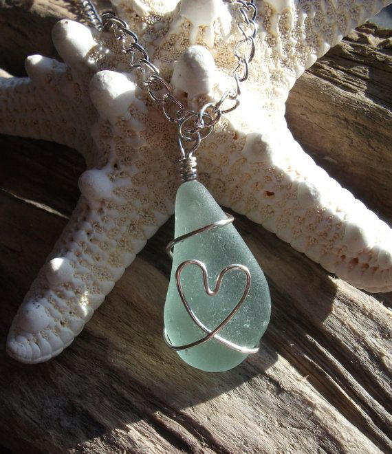 Scottish Sea Glass Heart  Necklace- Silver wire wrapped seaglass- bridal necklace-bridesmaid necklace -beachwear -beach wedding via Etsy