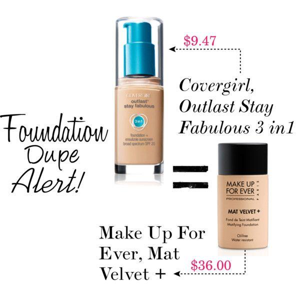 """Foundation Dupe Alert for makeup forever matte velvet (cover girl outlast) sweetlikecandycane on Polyvore"