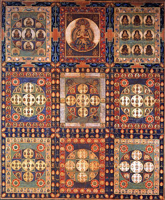 Kongokai : le Mandala,du diamant fondé sur le Sutra Vajrasekhara.L'univers est uni à la lumière de la sagesse qui fusionne tous les êtres en un seul. Cette sagesse concentre tout l'univers dans la lumière unique de Bouddha Vairocana, qui est la source lumineuse de toutes les divinités du mandala. Ce mandala équilibre la douceur de la compassion dans l'utérus du Mandala en représentant la dureté du diamant de la sagesse qui traverse l'illusion et apporte la diversité dans l'unité.