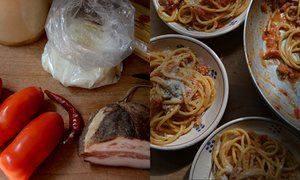 Rachel Roddy's recipe for pasta all'amatriciana. With origins in central Italy, amatriciana is a rustic mix of chunky pork and heaps of tangy pecorino, mantled with a light, sweet tomato sauce to coat long strands of pasta.
