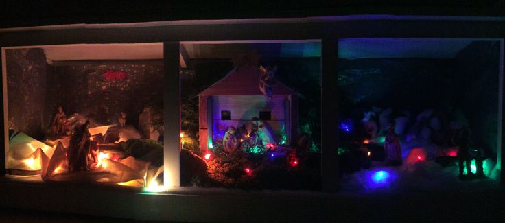 Christmas Nativity, created by three zones: desert, green country, snow. Stones, musk, lights... Children love to look at the differences!