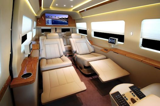 mercedes van outfitted with the luxuries of a private jet pics sprinter van private jets and. Black Bedroom Furniture Sets. Home Design Ideas