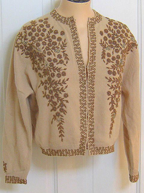 Vintage 50s Bronze BEADED Cardigan SWEATER by LavenderGardenCottag