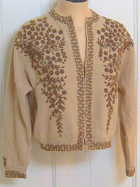 Vintage 50s Bronze BEADED Cardigan SWEATER by LavenderGardenCottag