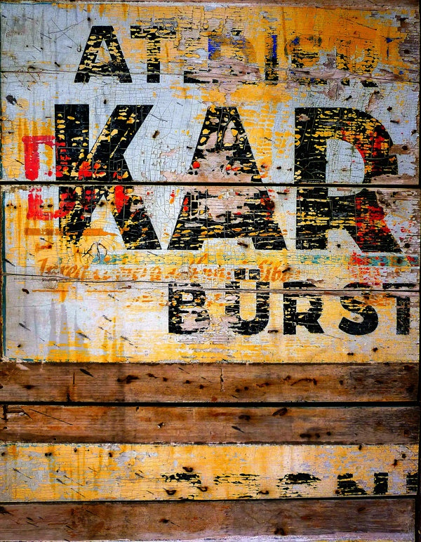 Industrial Vintage Typography Fine Art Photography, Wall Art, Industrial Decor, Print (rust wood yellow red black warm colors) - ANY SIZE. $80.00, via Etsy.
