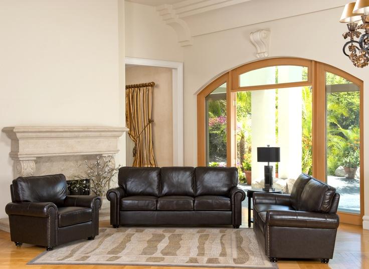 Abbyson Living Bellagio Italian Leather Set
