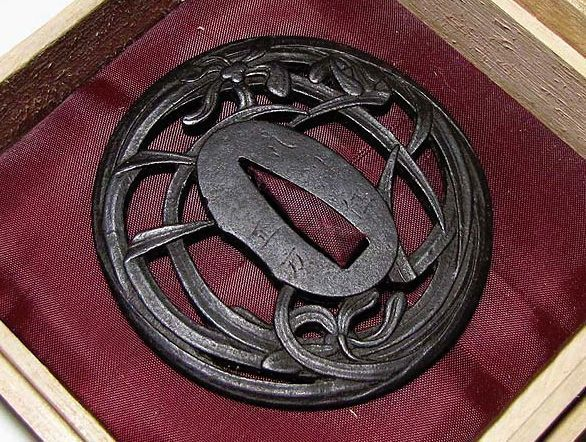 "Rare Edo Japanese Genuine Antique Signed ""正方"" TSUBA of Katana"