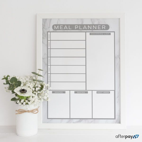 Reusable Meal Planner.  Write on the glass with liquid chalk and wipe clean with a damp cloth. Organising life, beautifully! www.atpcreativedesign.com