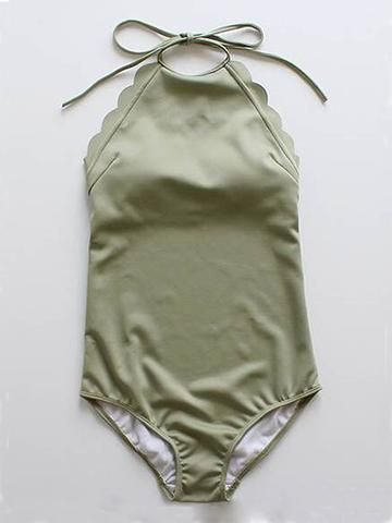 Army Green Halter Low Back Scallop Trim Swimsuit - stayingsummer