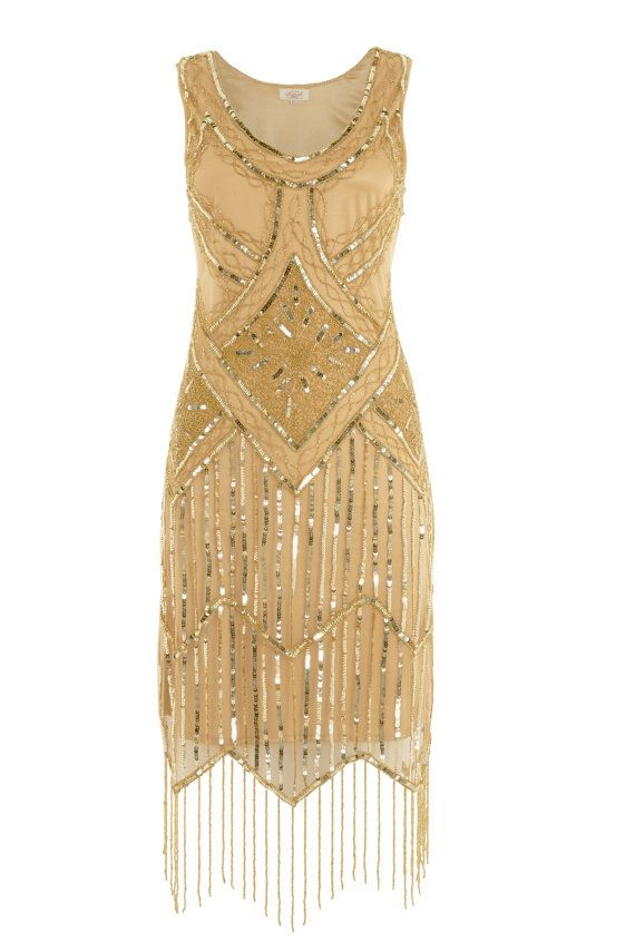 UK12 US8 AUS12 Gold Vintage inspired 1920s vibe Flapper Great Gatsby Beaded Charleston Sequin Art Deco Wedding Fringe Dress New Hand Made