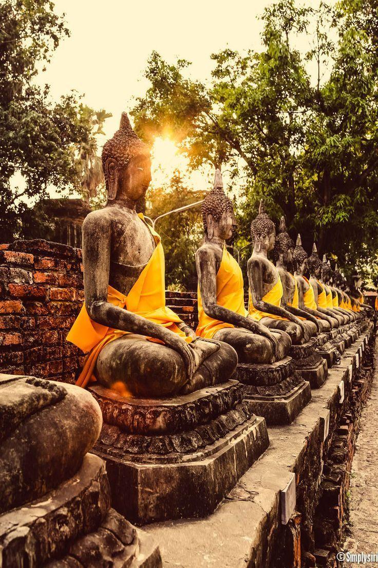 Buddhas at Ayutthaya, Thailand . El sentir junto a la meditación se reúnen en un lugar lleno de mistisismo. Lo enigmático; el pudor; la escencia
