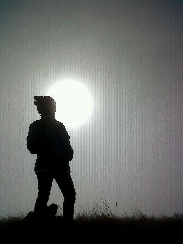 my silhuette in Penanggungan Mountain