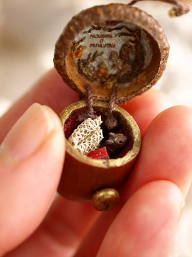 trinket box inside acorn box tiny squirrels at home