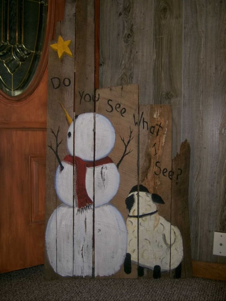 primitivesbarn woodhand painted snowman and sheepwith stardoor greeter. #JoyFields