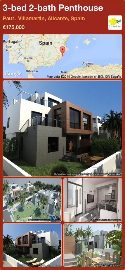 3-bed 2-bath Penthouse for Sale in Pau1, Villamartin, Alicante, Spain ►€175,000