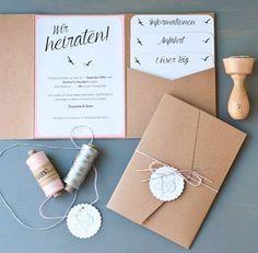 Heute auf dem Blog - unsere Hochzeitseinladungen! Mit viel Liebe selbstgemacht…
