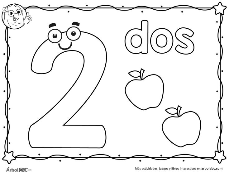 Número 2 para colorear   Árbol ABC en 2020   Numero para ...