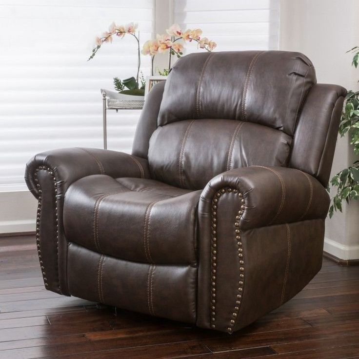 Leather Recliner Chair Rest Sleep Read Living Room Comfortable Cushion Brown #LeatherReclinerChair
