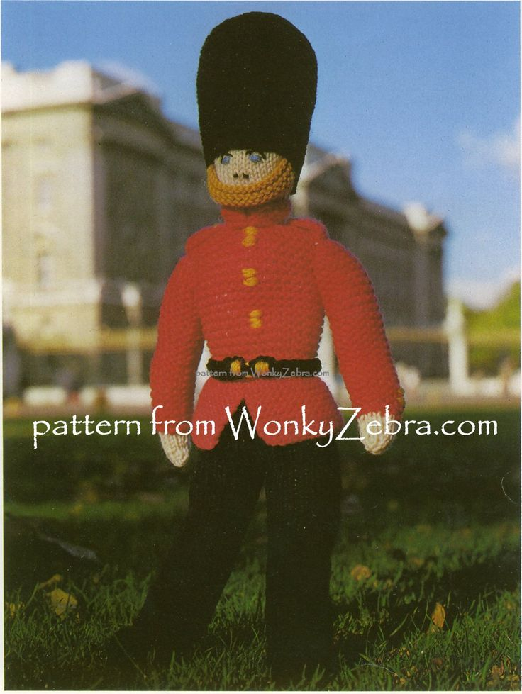 "PDF pattern for a vintage knitted toy soldier-a guardsman. WZ592 a  ""knitted brave soldier"""